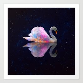 Swan Lake Galaxy Art Print