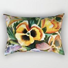 Vintage Retro Graceful Hand-painted Pansies Pattern Rectangular Pillow