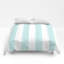 Duck Egg Pale Aqua Blue and White Wide Vertical Cabana Tent Stripe Comforters