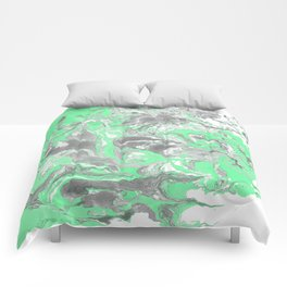 Light green and gray Marble texture acrylic paint art Comforters