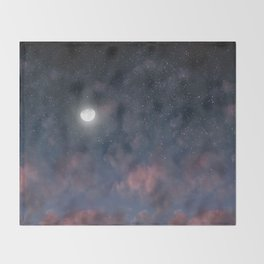Glowing Moon on the night sky through pink clouds Throw Blanket