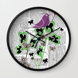 Vintage Retro Text Bird and Butterfly with Heart: Flutter By Wall Clock