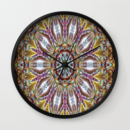 Lovely Healing Mandala  in Brilliant Colors: Black, Brown, Gold, Mauve, and Blue Wall Clock