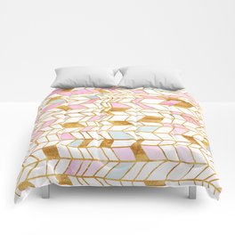 Abstract pattern gold and watercolor Comforters
