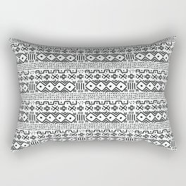 Mudcloth No. 3 in Black and White Rectangular Pillow