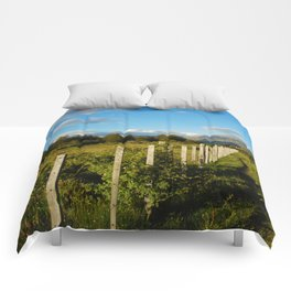 A fence in Patagonia Comforters