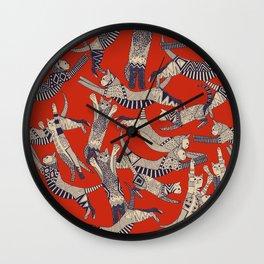 cat party retro Wall Clock