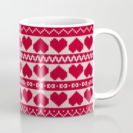 Fair Isle Valentines Day - Red Coffee Mug