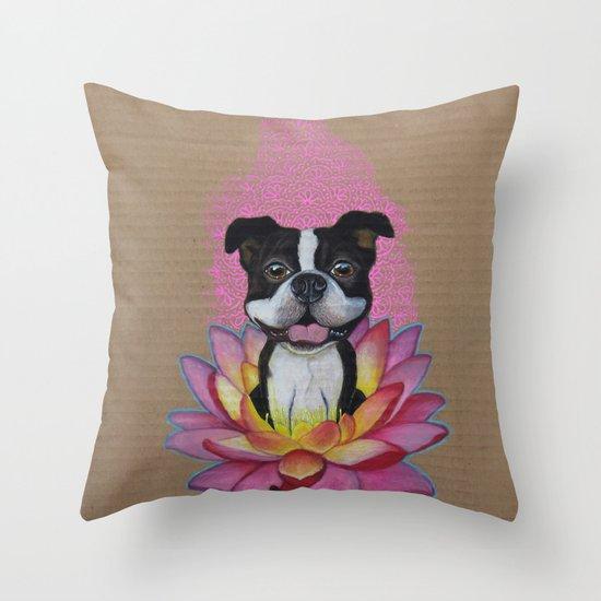 Zen Boston Terrier Throw Pillow