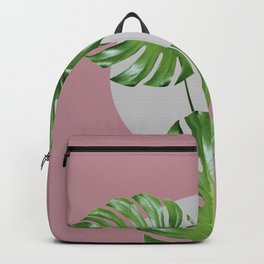 Monstera Green Leaves In A Gray Circle Backpack