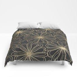 Modern elegant black faux gold hand painted floral Comforters