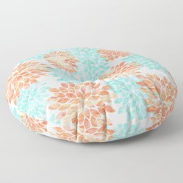 aqua and coral flowers Floor Pillow