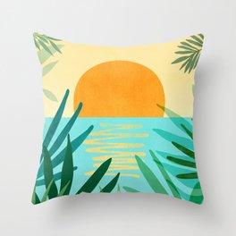 Tropical Ocean View / Landscape Illustration Throw Pillow