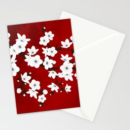 Red Black And White Cherry Blossoms Stationery Cards