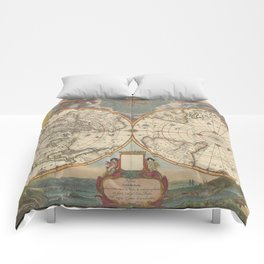 1672 World Polar Projection Map  Comforters