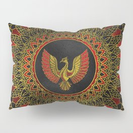 Gold and red Decorated Phoenix bird symbol Pillow Sham