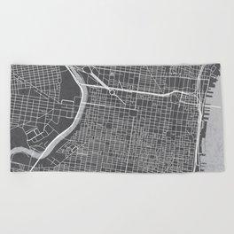 Center City Philadelphia Map Beach Towel