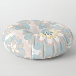 Distressed Floral Pattern in Muted Blush Pink Teal Yellow Floor Pillow