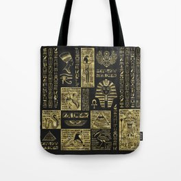 Egyptian  hieroglyphs and symbols gold on black leather Tote Bag