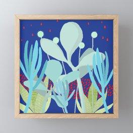 Succulents at night Framed Mini Art Print