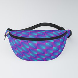 Chaotic pattern of bright blue rhombuses and purple triangles in a zigzag. Fanny Pack