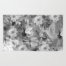 PARROTS MAGNOLIAS ROSES AND HYDRANGEAS TOILE PATTERN IN GRAY AND WHITE Rug