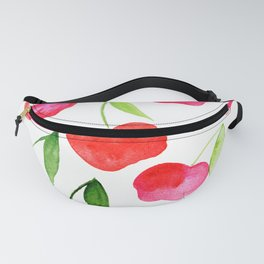 Watercolor cherries - red and green Fanny Pack