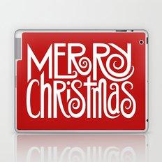 Merry Christmas Text White Laptop & iPad Skin
