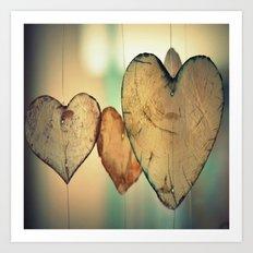 Vintage Boho Chic Bokeh Hearts Wind Chimes Art Print