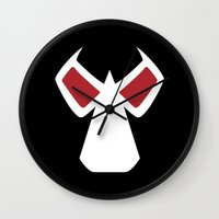 bane Wall Clocks featuring Bane Mask by Minimalist Heroes