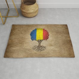 Vintage Tree of Life with Flag of Romania Rug