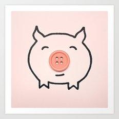 Button Pig Art Print
