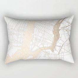 New York City White on Gold Rectangular Pillow
