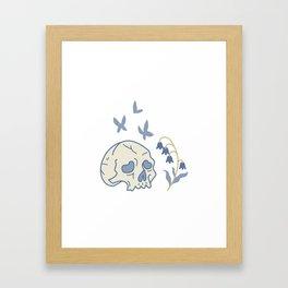 Skull, Moth and Bluebells Framed Art Print