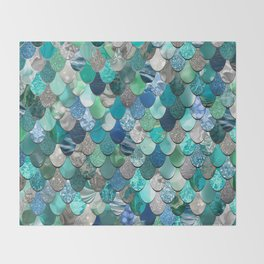 Mermaid Art, Sea,Teal, Mint, Aqua, Blue Throw Blanket