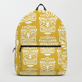 Tiki Pattern Mustard Yellow Backpack