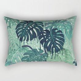Monstera Melt (in Green) Rectangular Pillow