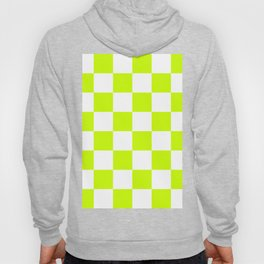 Large Checkered - White and Fluorescent Yellow Hoody