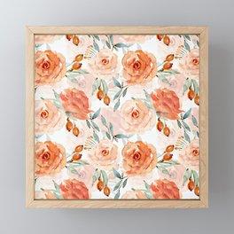 Living Coral Autumnal Roses Framed Mini Art Print