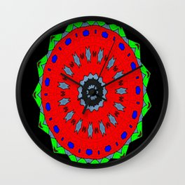 Lovely Healing Mandala  in Brilliant Colors: Black, Maroon, Green, Red, Royal Blue, and Gray Wall Clock