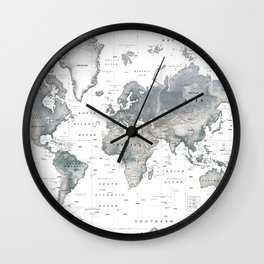 The World [Black and White Relief Map] Wall Clock