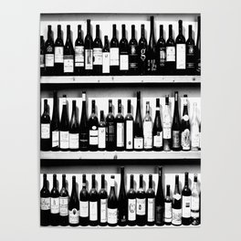 Wine Bottles in Black And White #society6 #decor Poster