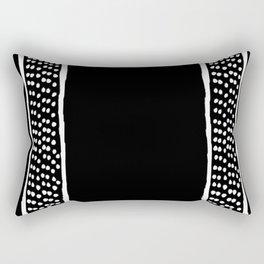 Dots Between Two Lines - Black -  Serie Boho Rectangular Pillow