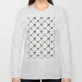 Floral Geometric Pattern Black and White Long Sleeve T-shirt