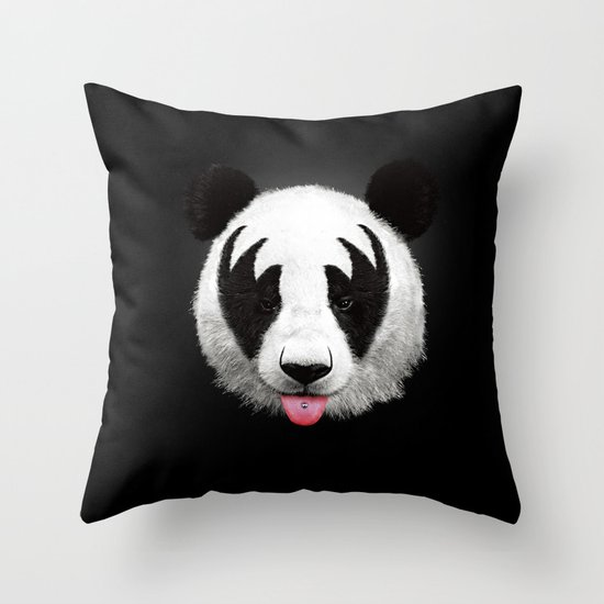 Kiss of a panda Throw Pillow