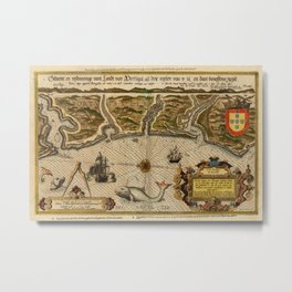 Map Of Portugal 1600 Metal Print
