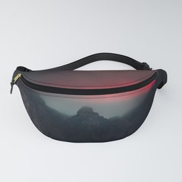 Burning clouds, fog and mountains Fanny Pack