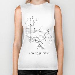 New York City White Subway Map Biker Tank
