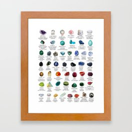 Crystal meanings and stone colours Framed Art Print