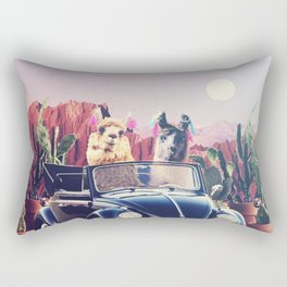 Llamas on the road Rectangular Pillow